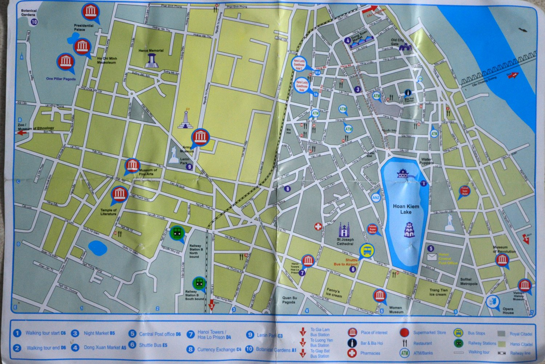 Hanoi ciekawe miejsca - mapa
