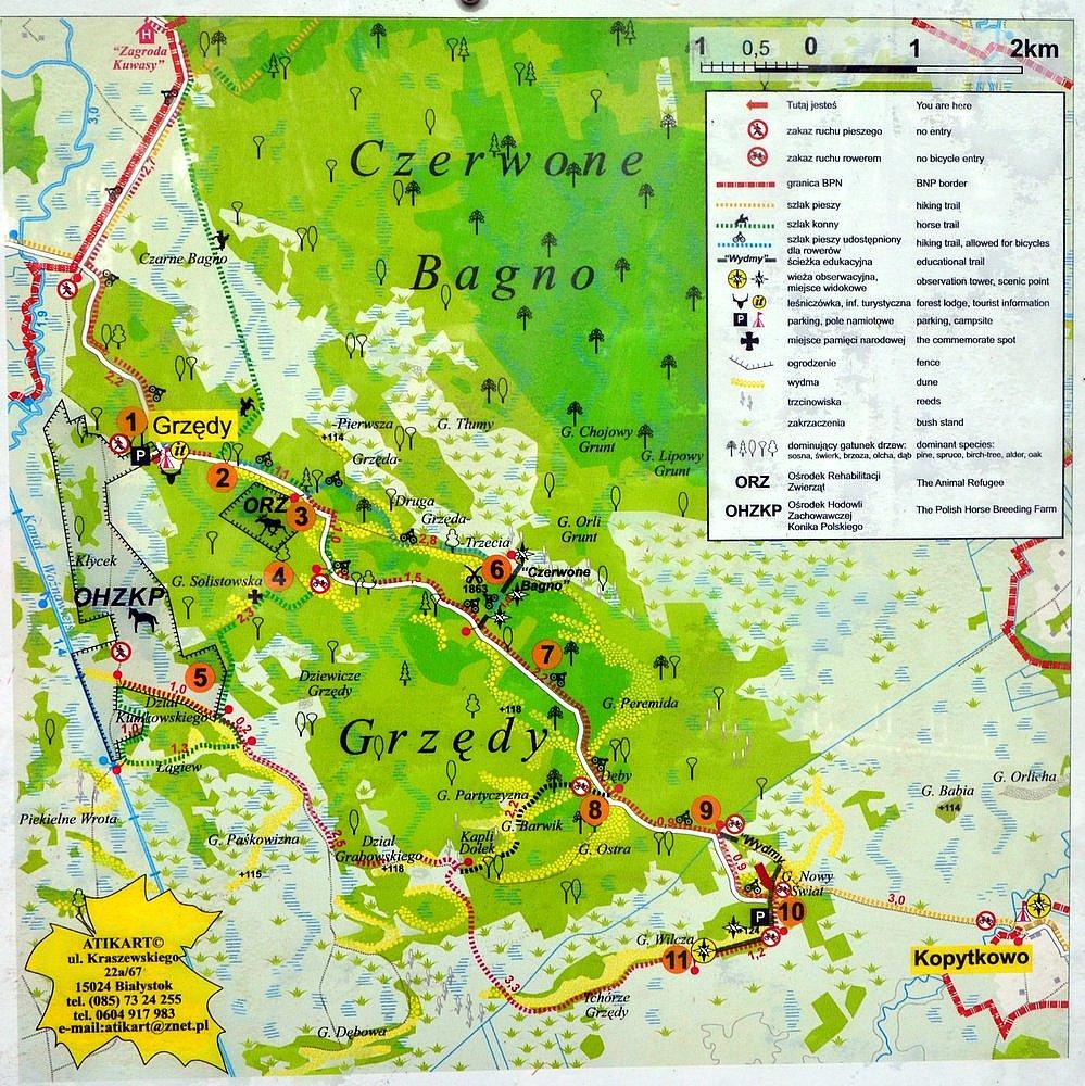 Biebrzański Park Narodowy - mapa